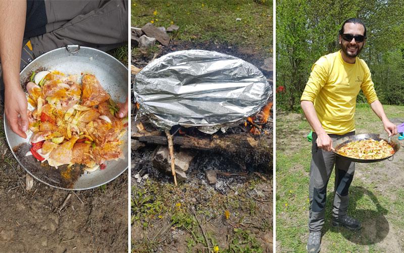 مرغ و سبزیجات در کمپ